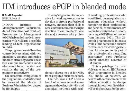 ePGP IIMRaipu News