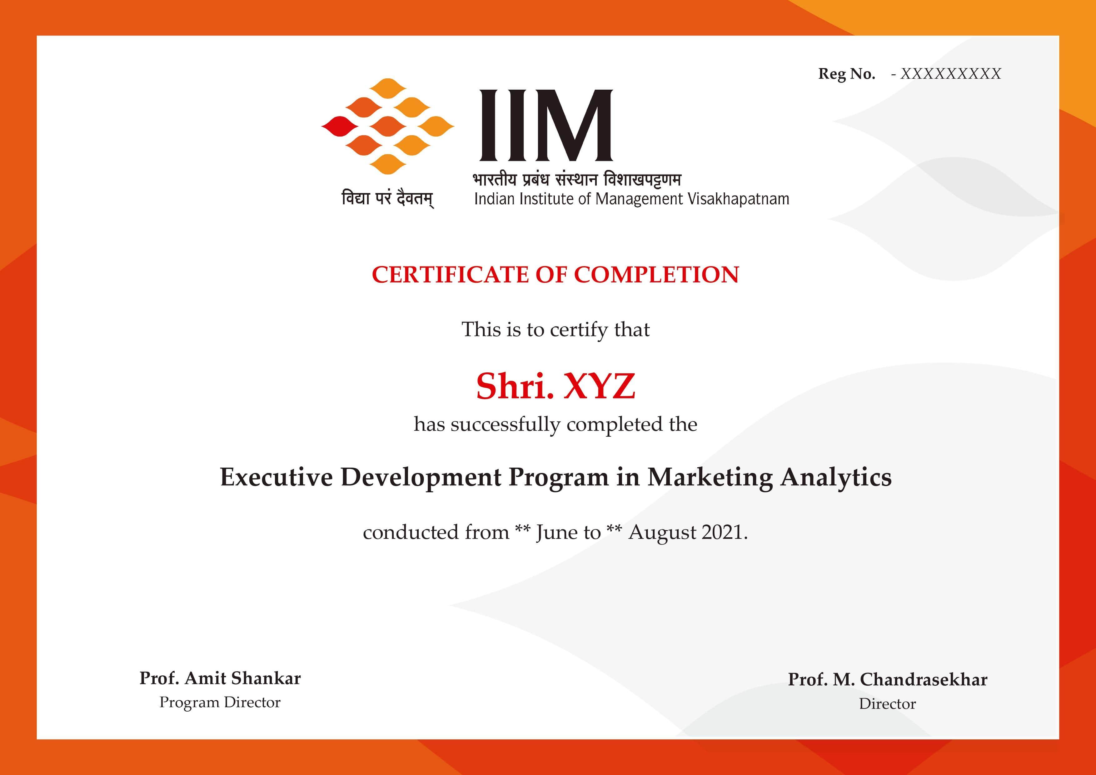 Marketing Analytics Sample Certificate IIM  Visakhapatnam