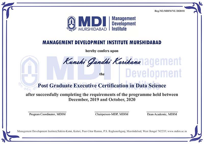 MDI Murshidabad Certificate