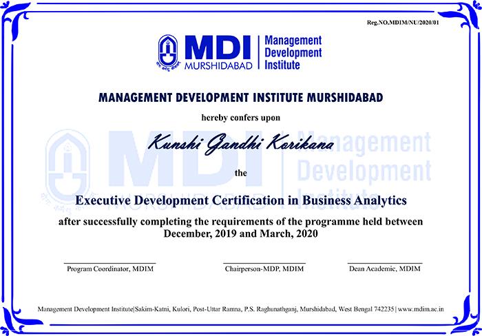 MDI Certificate