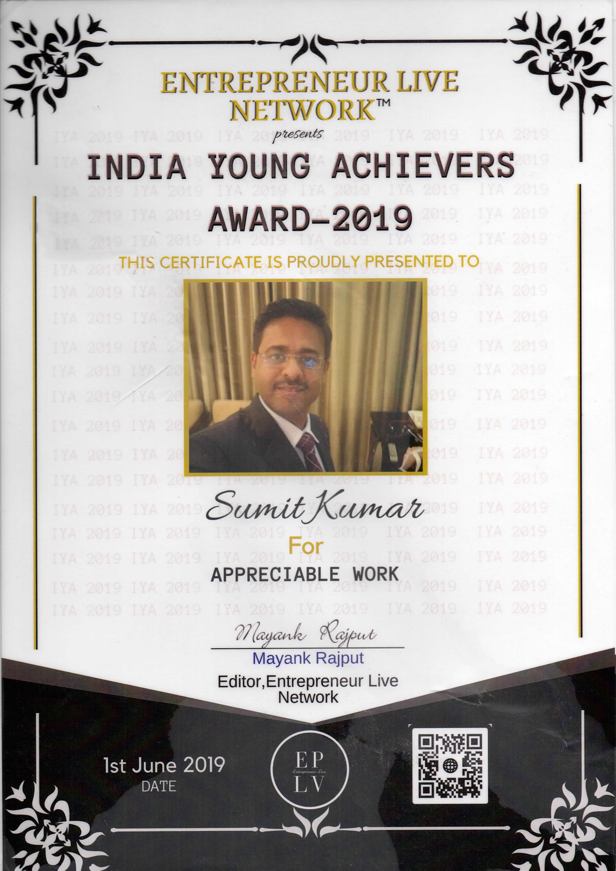 India Young Achievers Award