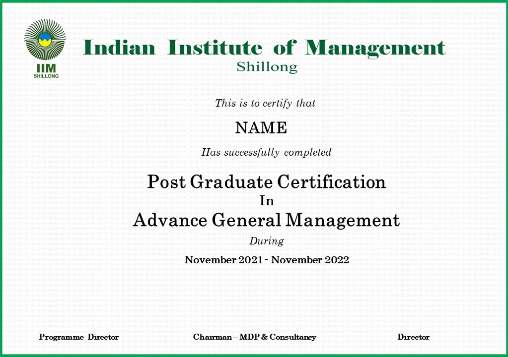 Post Graduate Certification in Advanced General Management