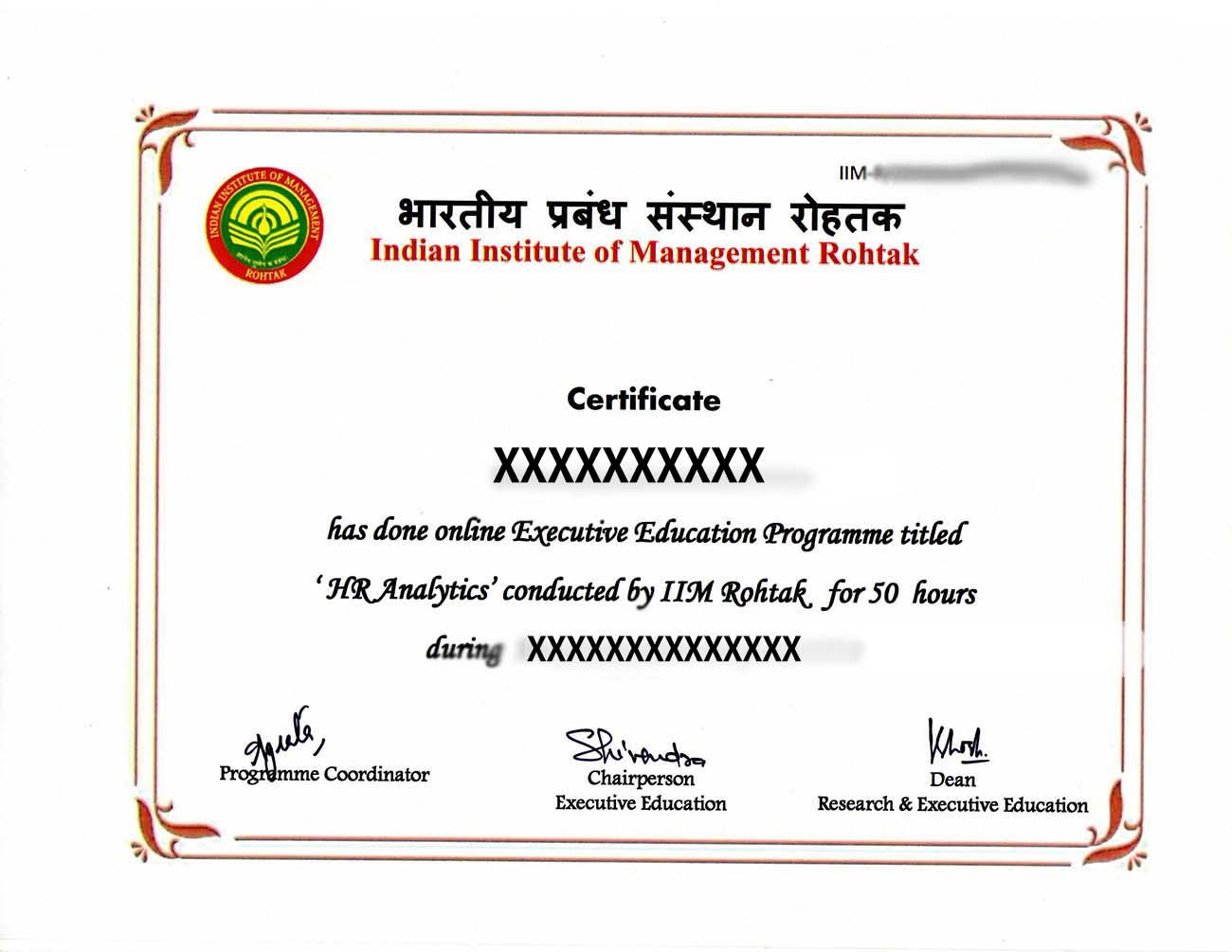 IIM Rohtak Certificate