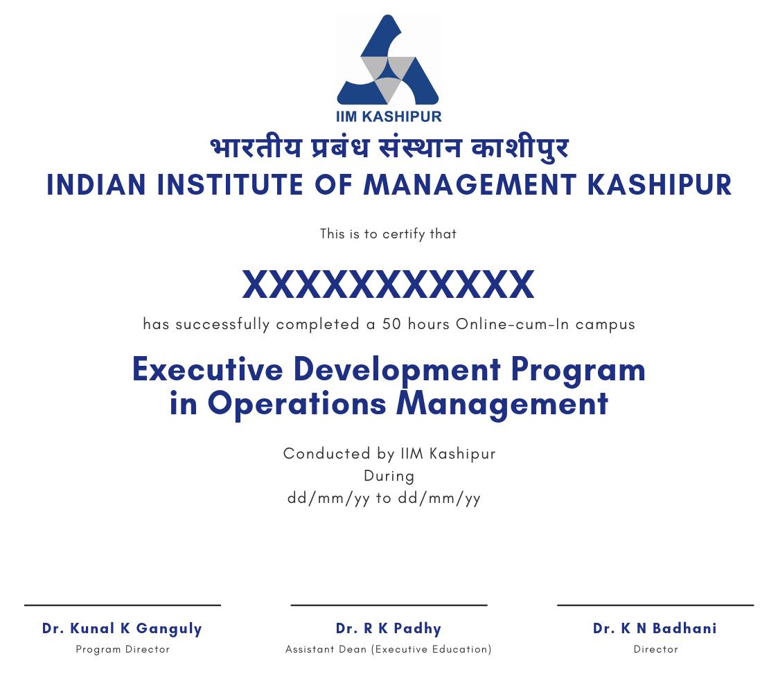 IIM Kashipur Certificate