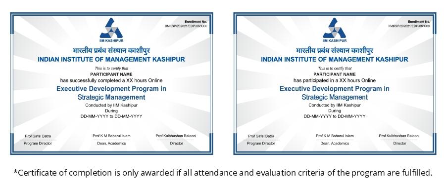 IIM Kashipur Strategic Management Certificate