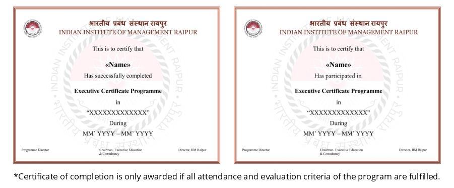 IIM Raipur Certificate