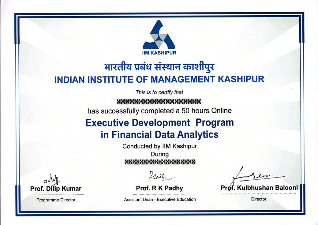Executive Development programme in financial data analytics
